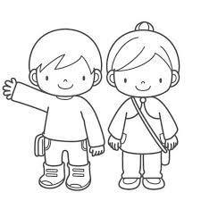 Dibujar 2 Niños Jugando Fácil Paso a Paso