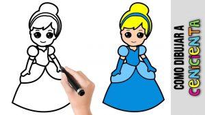 Cómo Dibujar A Cenicienta De Disney Paso a Paso Fácil