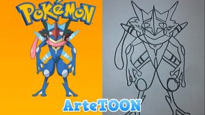 Cómo Dibujar A Greninja Ash De Pokémon Paso a Paso Fácil