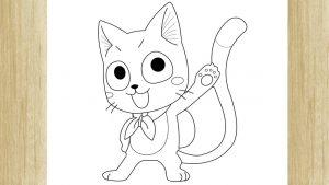 Cómo Dibujar A Happy De Fairy Tail Paso a Paso Fácil