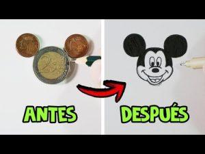 Cómo Dibuja A Mickey Mouse Con Monedas Fácil Paso a Paso