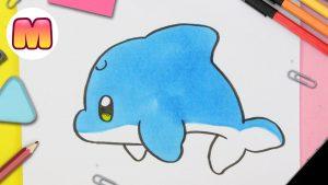 Cómo Dibuja Delfín Kawaii Fácil Paso a Paso