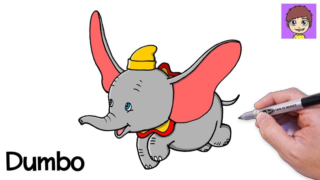 Dibuja Dumbo Fácil Paso a Paso