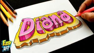 Cómo Dibujar El Nombre Diana En 3D Fácil Paso a Paso