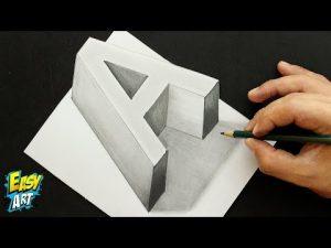 Dibujar La Letra A Con Efecto 3D Fácil Paso a Paso
