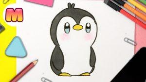 Cómo Dibujar Pinguino Kawaii Paso a Paso Fácil
