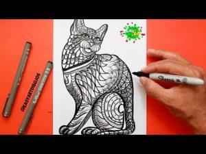 Dibuja Un Gato Estilo Mandala Paso a Paso Fácil