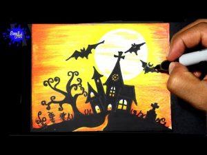Dibuja Un Terrorífico Castillo De Halloween Paso a Paso Fácil