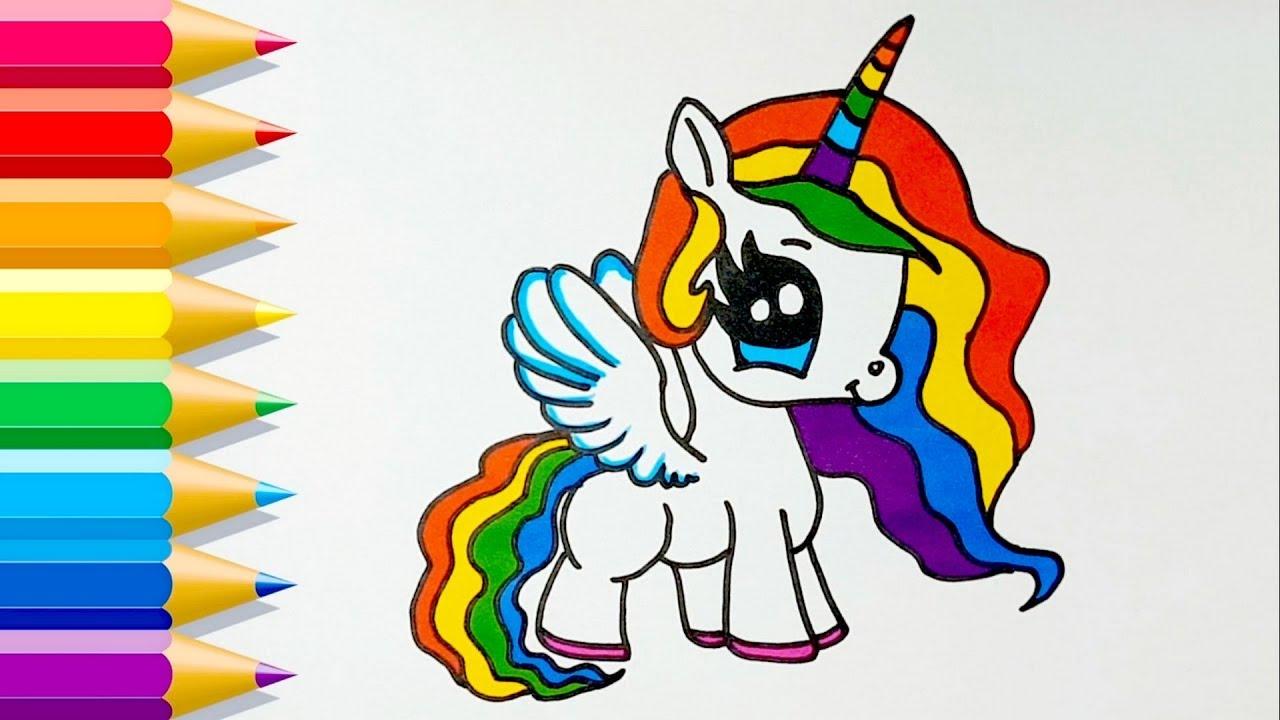 Cómo Dibuja Un Unicornio De Arcoíris Fácil Paso a Paso