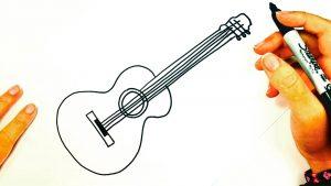 Cómo Dibujar Una Guitarra Paso a Paso Fácil