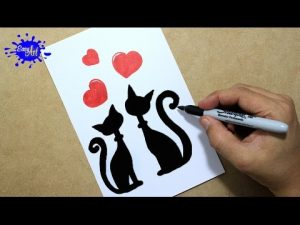 Dibujar Unos Gatitos Enamorados Para San Valentín Fácil Paso a Paso