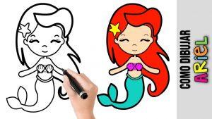 Cómo Dibujar A Ariel De La Sirenita Fácil Paso a Paso