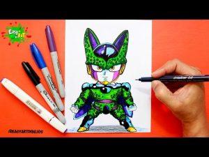 Cómo Dibuja A Cell De Dragon Ball Z Kawaii Paso a Paso Fácil