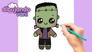 Dibujar A Frankenstein Kawaii Fácil Paso a Paso