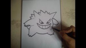 Dibujar A Gengar De Pokémon Paso a Paso Fácil