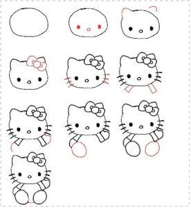 Dibujar A Hello Kitty Fácil Paso a Paso