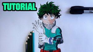 Dibujar A Izuku Midoriya De Boku No Hero Fácil Paso a Paso