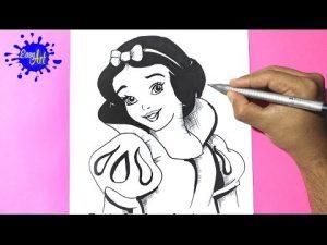 Dibuja A La Princesa Blancanieves Paso a Paso Fácil