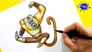 Cómo Dibujar A Maestro Mono De Kung Fu Panda Fácil Paso a Paso