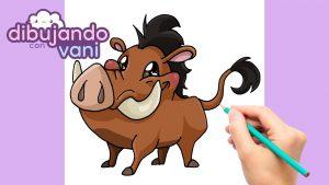 Dibujar A Pumba De El Rey León Paso a Paso Fácil