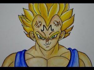 Cómo Dibuja A Vegeta Majin De Dragon Ball Z Fácil Paso a Paso