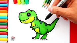 Cómo Dibujar Dinosaurio Kawaii Paso a Paso Fácil