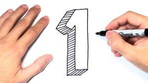 Dibujar El Numero 1 Fácil Paso a Paso