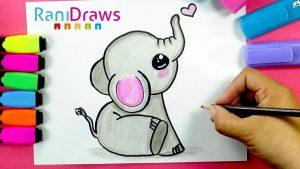 Cómo Dibujar Elefante Kawaii Fácil Paso a Paso