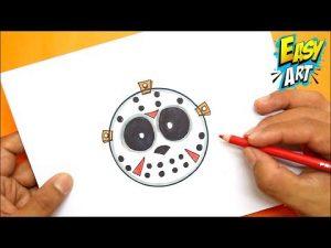 Cómo Dibujar La Mascara De Jason Para Halloween Paso a Paso Fácil