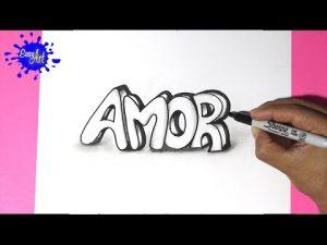 Cómo Dibuja La Palabra Amor Con Volumen Para San Valentín Paso a Paso Fácil
