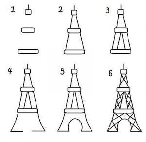 Dibuja La Torre Eiffel Fácil Paso a Paso