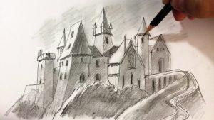 Cómo Dibujar Un Castillo A Lápiz Fácil Paso a Paso
