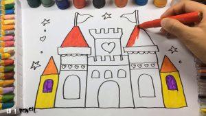 Dibujar Un Castillo De Princesas Paso a Paso Fácil
