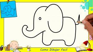 Dibujar Un Elefante Para Niños Fácil Paso a Paso