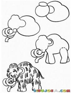 Cómo Dibujar Un Mamut Paso a Paso Fácil