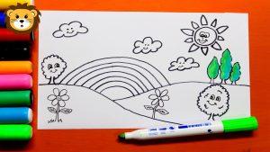 Cómo Dibujar Un Paisaje Para Niños Paso a Paso Fácil