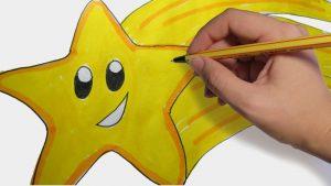 Dibujar Una Estrella Fugaz Fácil Paso a Paso