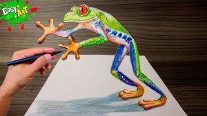 Cómo Dibujar Una Rana En 3D Paso a Paso Fácil