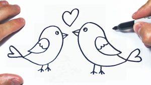 Dibujar Unos Pajaritos Enamorados Paso a Paso Fácil