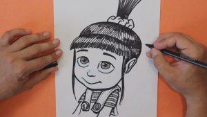 Cómo Dibujar A Agnes De Gru Mi Villano Favorito Paso a Paso Fácil