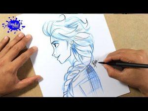 Cómo Dibuja A Elsa De Perfil Paso a Paso Fácil