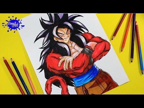 Cómo Dibujar A Gokú Ssj4 De Dragon Ball Gt Fácil Paso a Paso