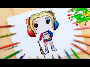 Cómo Dibuja A Harley Quinn Del Escuadron Suicida Kawaii Paso a Paso Fácil