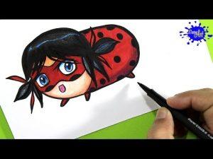 Cómo Dibuja A Ladybug Estilo Tsum Tsum Fácil Paso a Paso