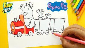 Dibuja El Tren Del Abuelo De Peppa Pig Fácil Paso a Paso