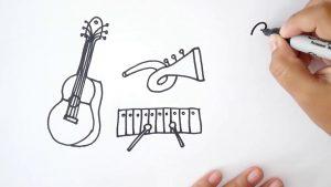 Cómo Dibuja Instrumentos Musicales Fácil Paso a Paso