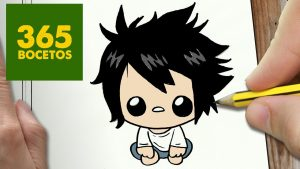 Dibuja L Death Note Kawaii Fácil Paso a Paso