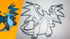 Dibujar Un Pokémon Mega Charizard X Fácil Paso a Paso