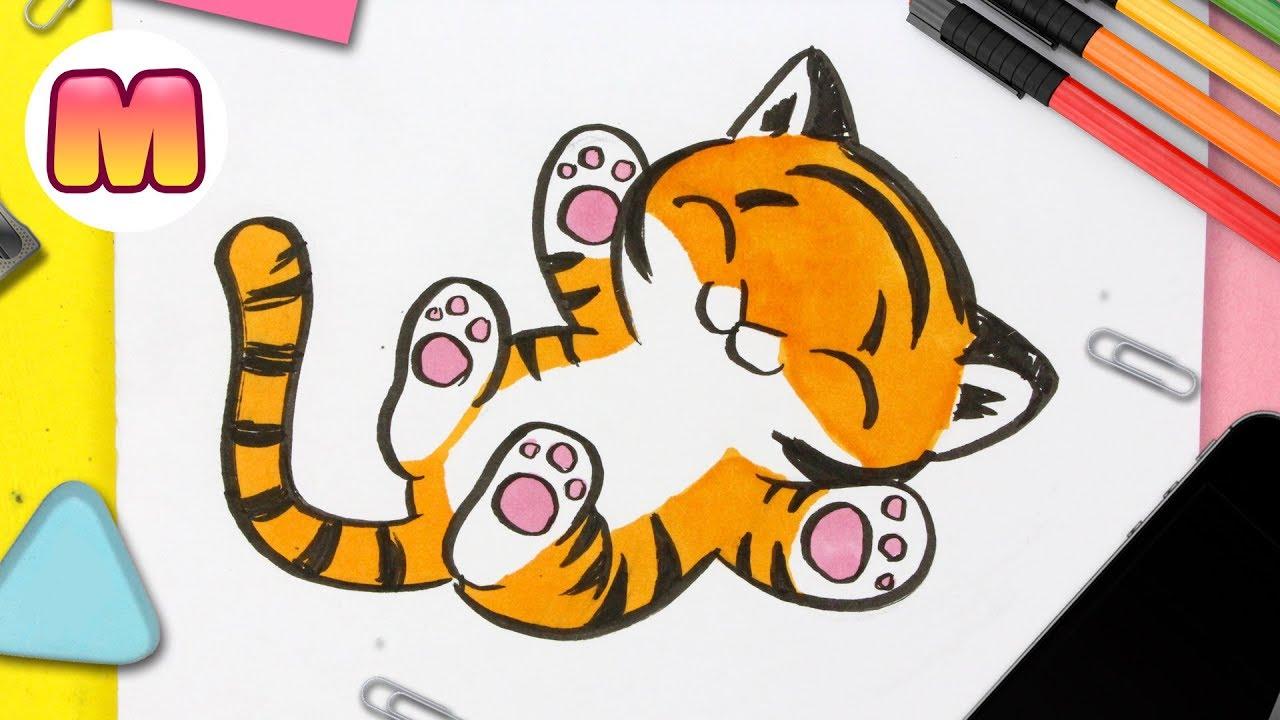 Dibuja Un Tigre Kawaii Fácil Paso a Paso