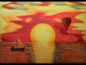 Cómo Dibuja Una Puesta De Sol En El Mar Fácil Paso a Paso